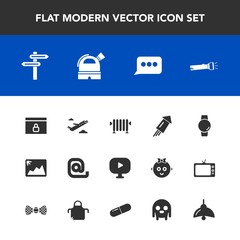 Modern, simple vector icon set with flashlight, home, sign, boiler, lamp, firework, picture, flight, photo, festival, speech, direction, internet, envelope, banner, smart, image, gadget, media icons