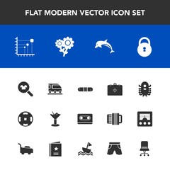 Modern, simple vector icon set with cassette, fiction, lock, ufo, health, flower, money, nature, poker, animal, transportation, medicine, sign, retro, van, ocean, glass, space, bar, data, spring icons