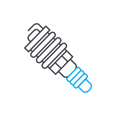 Spark plug vector thin line stroke icon. Spark plug outline illustration, linear sign, symbol isolated concept.