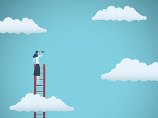 Business vision vector concept with business woman standing on top of ladder above clouds. Symbol of new opportunities, career ladder, visionary, success, promotion.