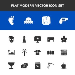 Modern, simple vector icon set with blossom, sunset, spring, small, child, piece, star, sun, game, flower, gun, jacket, photo, king, graphic, table, chess, retro, kid, sign, business, frame,  icons