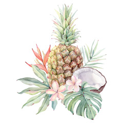 watercolor tropical fruits and flowers set