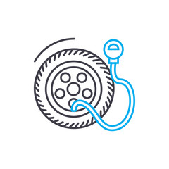 Tire pressure vector thin line stroke icon. Tire pressure outline illustration, linear sign, symbol isolated concept.