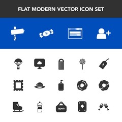Modern, simple vector icon set with lollipop, parachuting, parachute, flight, play, jump, border, cleaner, way, cloud, alcohol, frame, extreme, soap, game, arrow, store, account, cooking, cheese icons