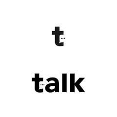 t letter talk speak logo vector icon