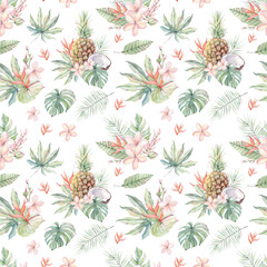 watercolor tropical seamless pattern.