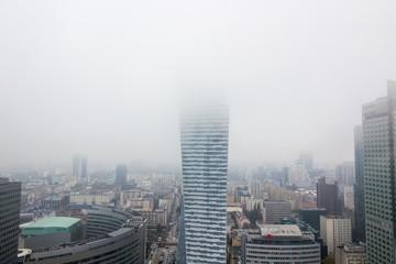Modern skyscrapers in the fog