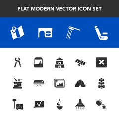 Modern, simple vector icon set with tool, musical, asia, championship, planet, technology, instrument, bath, conditioner, repair, road, market, location, service, industrial, image, sound, air icons