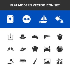 Modern, simple vector icon set with strategy, technology, food, photo, glass, red, finance, equipment, wine, travel, space, fitness, web, war, restaurant, planet, picture, hat, graph, alcohol icons