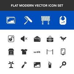 Modern, simple vector icon set with lock, road, photo, rattle, care, truck, sign, unlock, child, mail, clean, security, protection, baby, shop, happy, communication, clothing, street, white, kid icons