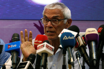 Egypt's national football team's head coach Hector Cuper speaks during a news conference at the Egyptian Federation about his team's preparations for the 2018 FIFA World Cup, in Cairo