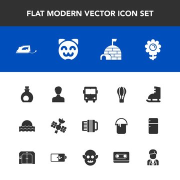 Modern, simple vector icon set with animal, sun, hot, transport, man, cat, kitty, balloon, healthy, parachute, ice, spring, profile, transportation, light, cute, igloo, flower, sunset, oil, bus icons