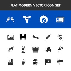 Modern, simple vector icon set with technology, wine, royal, winner, holiday, queen, picture, document, frame, circus, crown, first, rocket, space, plane, report, king, award, place, chart, gift icons