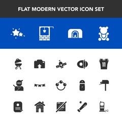 Modern, simple vector icon set with home, rattle, ninja, game, shirt, holiday, night, cute, pan, orbit, barbecue, astronomy, teddy, station, baby, star, photo, basketball, white, planet, fluffy icons