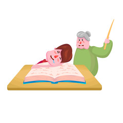 The student falls asleep behind the book and the teacher with the pointer screams at him