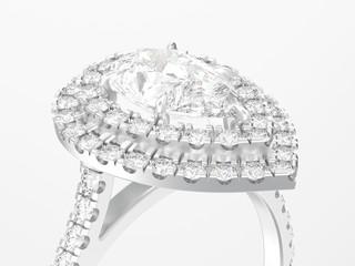 3D illustration close up silver decorative pear diamond ring