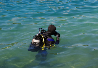 Scuba diver before diving.