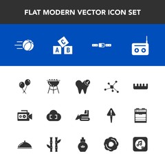 Modern, simple vector icon set with video, decoration, beauty, ball, brush, celebration, music, white, grill, meat, film, camera, abc, dental, alphabet, cloud, cooking, bbq, birthday, machinery icons