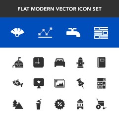 Modern, simple vector icon set with sensu, fish, sign, picture, book, image, wheelchair, arctic, frame, white, time, hydrant, notebook, fan, star, department, hour, clock, stats, paper, fire icons