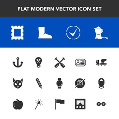 Modern, simple vector icon set with anchor, fiction, drink, equipment, hot, frame, teapot, hippie, photo, gadget, concrete, mixer, glasses, pen, construction, border, smart, identity, paddle, id icons