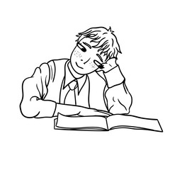 Raster drawing of a dreamy schoolboy with notebook