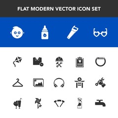 Modern, simple vector icon set with cute, glasses, dentist, watch, dental, white, childhood, shirt, frame, dentistry, child, style, leisure, cloakroom, helmet, foreman, audio, food, image, music icons