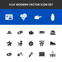 Modern, simple vector icon set with food, sheriff, dish, star, conditioning, business, table, hot, elevator, dinner, menu, home, texas, office, cute, child, cowboy, pot, spoon, lifestyle, work icons