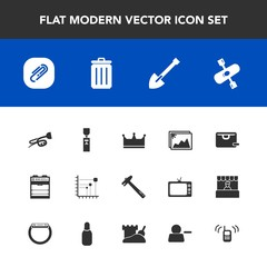 Modern, simple vector icon set with oven, sound, photo, kitchen, paper, diagram, king, bin, paperclip, trumpet, sale, wrench, ringing, hammer, call, spanner, image, river, business, bag, clip,  icons