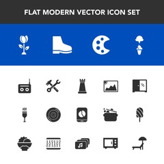 Modern, simple vector icon set with radio, music, king, palette, glass, wheel, image, wine, furniture, car, mobile, flower, piece, tool, business, auto, food, cream, home, chess, nature, picture icons