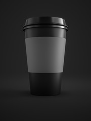 black coffee to go cup isolated on black background