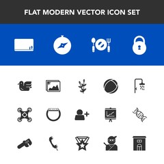 Modern, simple vector icon set with harvest, wildlife, knife, chalk, photo, drone, security, sign, ball, bird, fork, wheat, building, time, estate, animal, image, house, map, agriculture, bath icons
