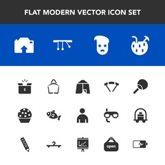Modern, simple vector icon set with fashion, bag, glass, extreme, cocktail, drink, travel, style, male, parachute, container, tent, camp, , photo, graphic, fish, ping, hipster, cake, tennis, boy icons
