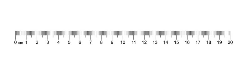 Ruler 20 cm. Measuring tool. Ruler Graduation. Ruler grid 20 cm. Size indicator units. Metric Centimeter size indicators. Vector AI10