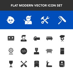 Modern, simple vector icon set with concept, road, wrench, kid, technology, brush, photography, retro, transport, photographer, childhood, substitute, chief, hammer, change, photo, wheel, boy icons