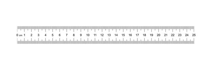 Ruler 25 cm. Measuring tool. Ruler Graduation. Ruler grid 25 cm. Size indicator units. Metric Centimeter size indicators. Vector AI10