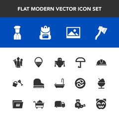 Modern, simple vector icon set with picture, axe, safety, background, android, shovel, sign, job, king, work, bathroom, robot, umbrella, musical, music, futuristic, backpack, kitty, bucket, rain icons