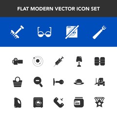 Modern, simple vector icon set with space, wash, medical, interior, gardening, style, fork, photo, key, technology, galaxy, rake, tank, spoon, photographer, fashion, door, photography, table icons