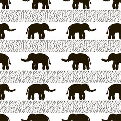 Seamless pattern with black elephants and dots on the white background.