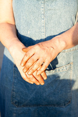 Dirty worker hands
