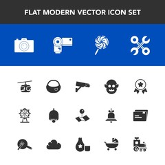Modern, simple vector icon set with sign, london, technology, school, eye, pointer, service, space, blue, carousel, safety, first, winner, alarm, pin, award, camera, backpack, tool, wheel, ufo icons