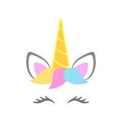 Cute unicorn face. Unicorn head with horn, ears, eyes and hairstyle. Vector