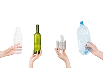 Female hand holding empty glass bottle isolated on white. Recyclable waste. Recycling, reuse, garbage disposal, resources, environment and ecology concept