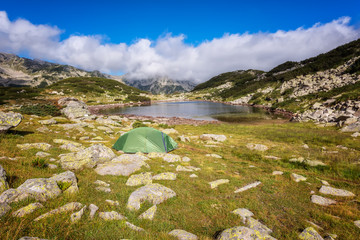 Magnificent summer view of the Frog lake in Pirin Mountains