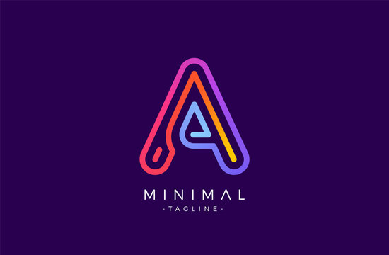 Minimal line font style A Letter Logo in colorful stroke for personal and corporate identity
