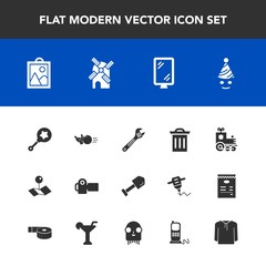 Modern, simple vector icon set with sign, pin, train, technology, road, shovel, image, ball, location, rattle, tool, street, fun, birthday, mill, camera, travel, trash, garbage, equipment, sport icons
