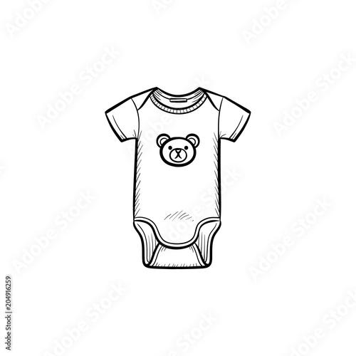 fe1b31071c8c Newborn kid s wear hand drawn outline doodle icon. Cute body suit ...