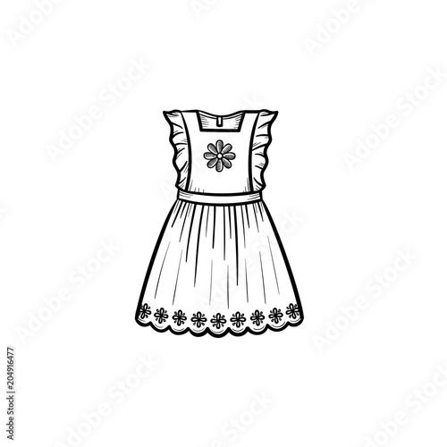 9a5488979e54 Baby girl dress hand drawn outline doodle icon. Beautifull birthday or  celebration dress vector sketch illustration for print