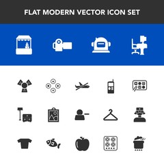 Modern, simple vector icon set with plane, flight, bed, sign, grocery, work, account, game, table, play, travel, helmet, business, computer, food, photo, camera, vintage, delete, space, airplane icons