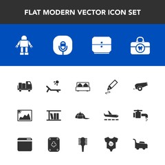 Modern, simple vector icon set with lawn, technology, truck, double, headwear, brush, shipping, photo, cannon, clothing, image, radio, health, office, machine, sunny, pen, vacation, furniture icons