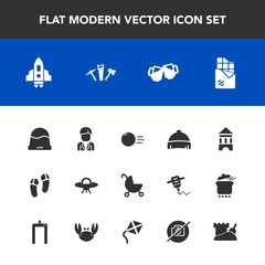 Modern, simple vector icon set with space, spaceship, photo, baby, sport, hammer, boy, pin, fashion, male, food, technology, pram, beer, bowling, craft, bar, footwear, alcohol, clothing, repair icons